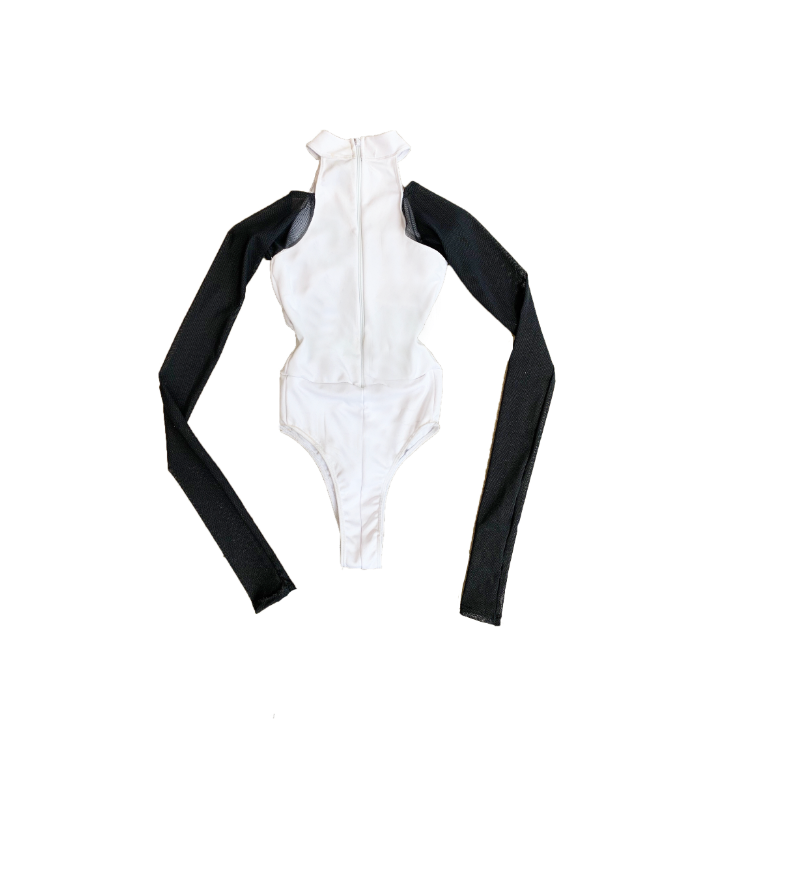 WHITE T-NECK BODY SUIT (MADE TO ORDER)