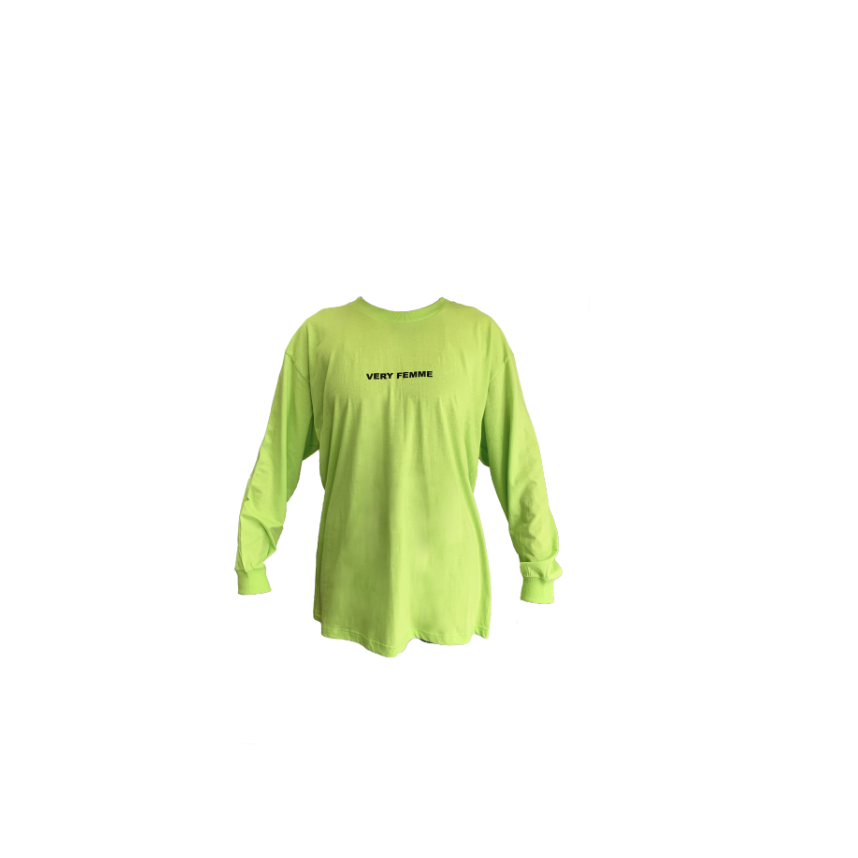 "LIME GREEN ""VERY FEMME"" LONG SLEEVE T-SHIRT"