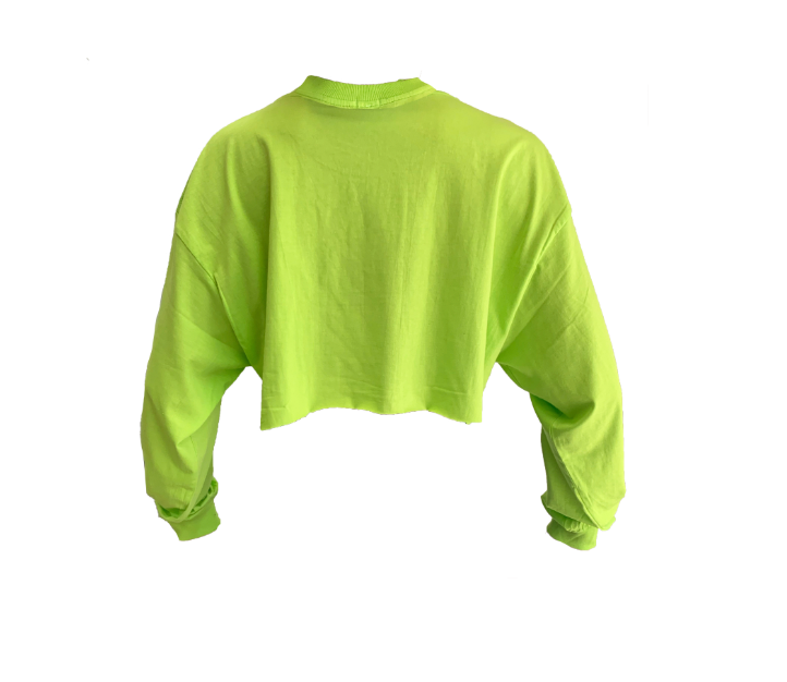 "LIME GREEN ""VERY FEMME"" CROPPED T-SHIRT"