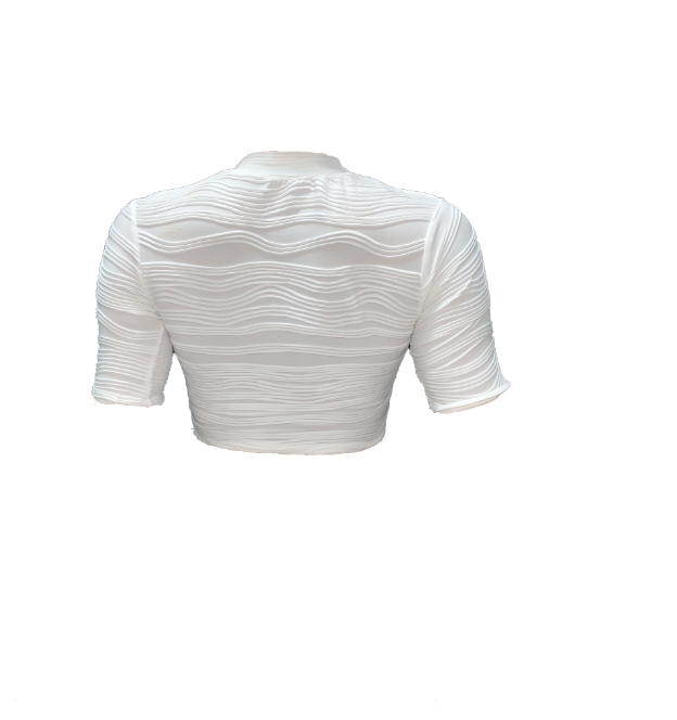 WHITE TEXTURED SHORT SLEEVE BLOUSE (MADE TO ORDER)