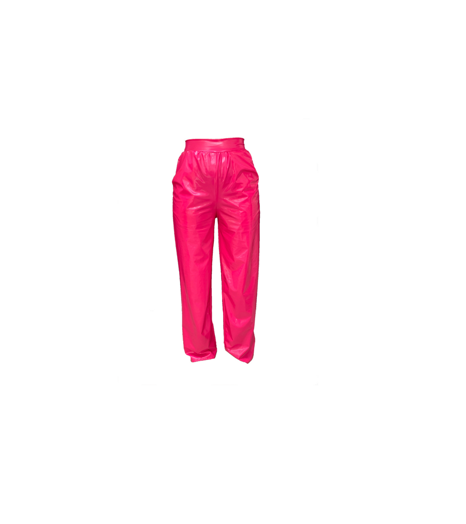 PINK VINYL WIDE LEG TROUSER (MADE TO ORDER)