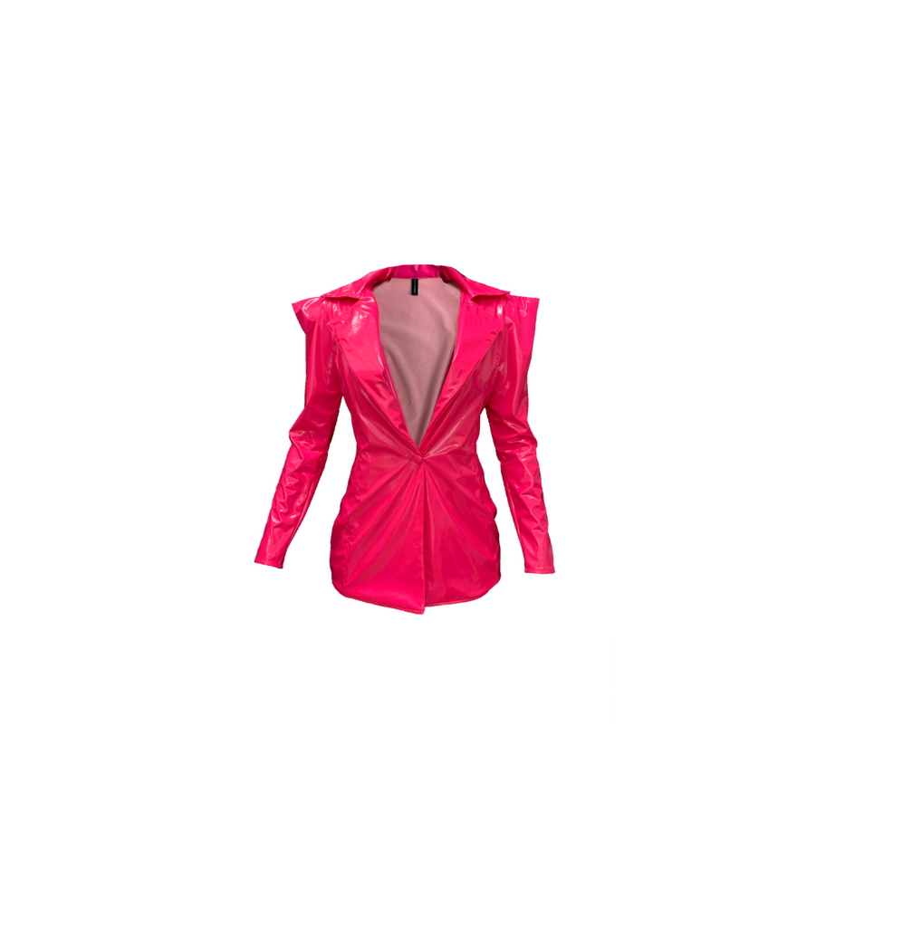 PINK VINYL BLAZER (MADE TO ORDER)