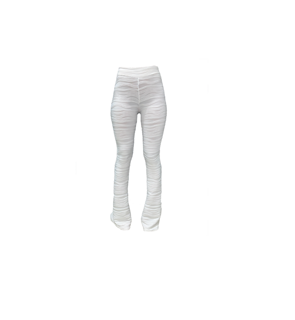 WHITE TEXTURED FLARE TROUSERS