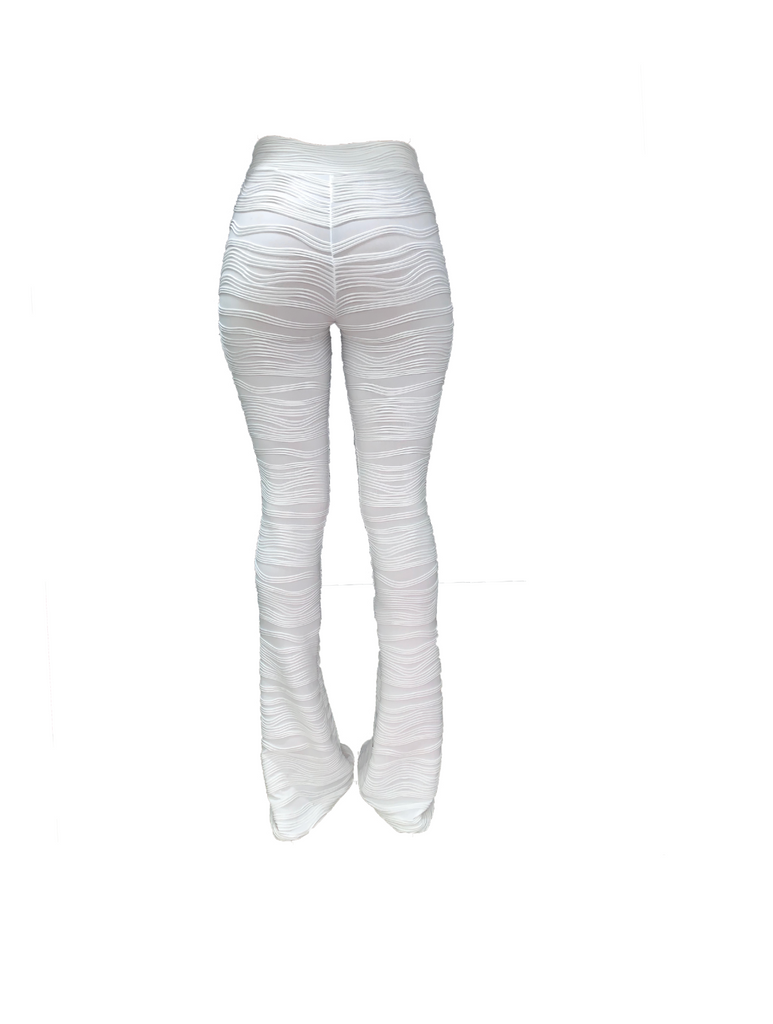 WHITE TEXTURED FLARE TROUSERS (MADE TO ORDER)
