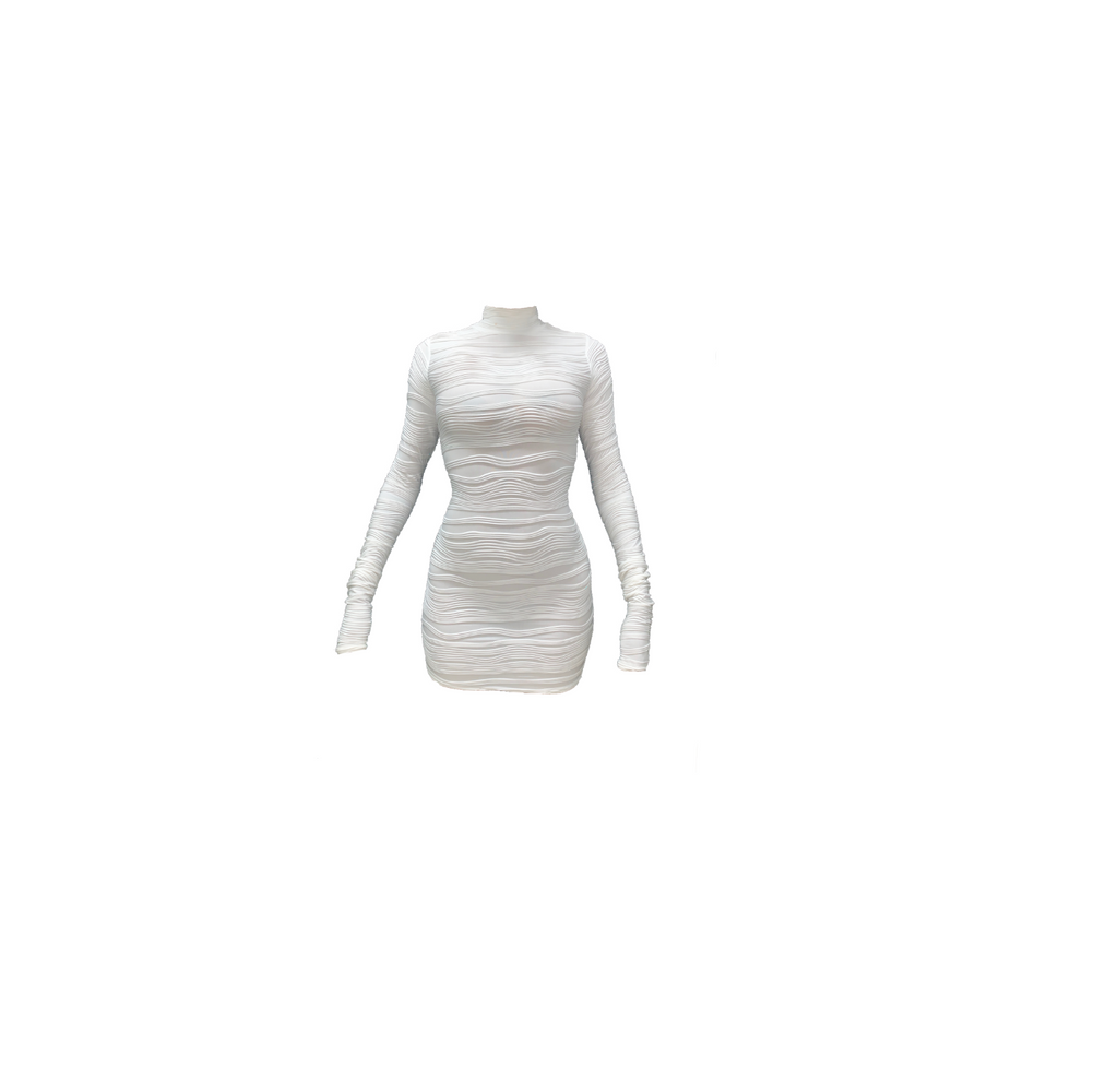 WHITE TEXTURED MINI DRESS (MADE TO ORDER)
