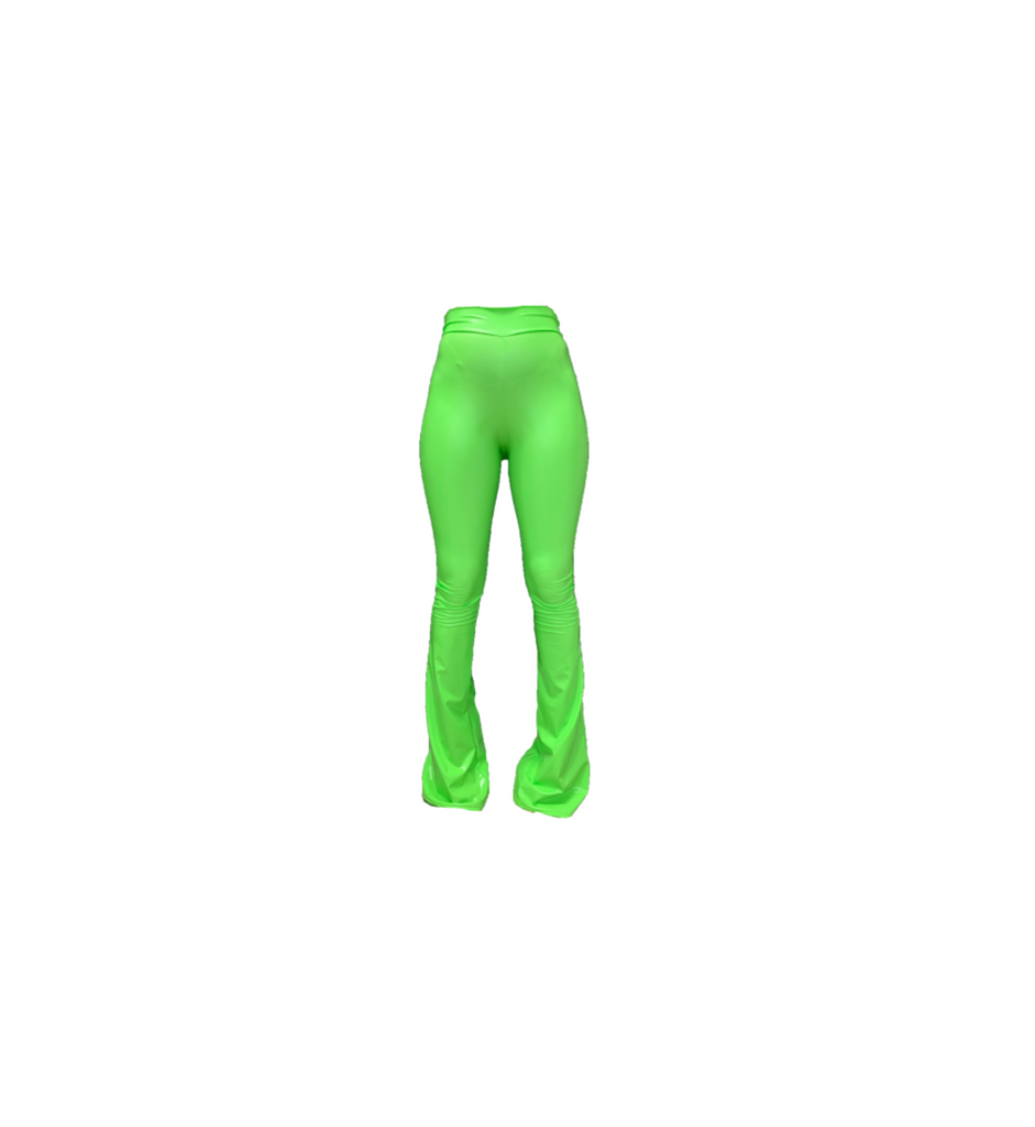 LIME GREEN VINYL FLARE TROUSERS (MADE TO ORDER)