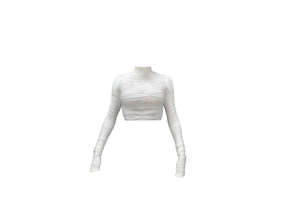 WHITE TEXTURED CROPPED LONG SLEEVE BLOUSE (MADE TO ORDER)