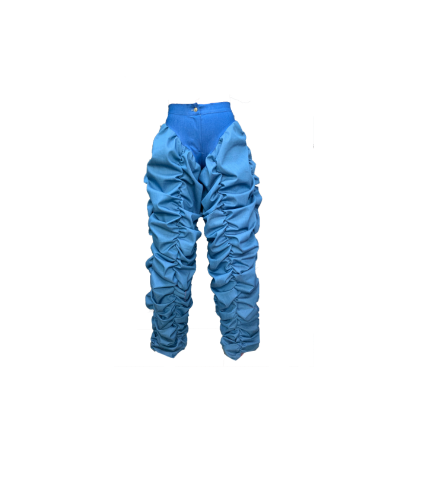 BLUE 2 TONE RUCHED TROUSERS