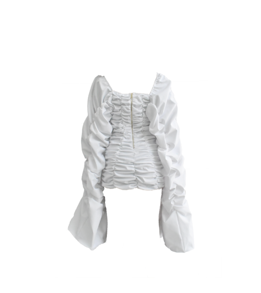WHITE RUCHED MINI DRESS (PRE-ORDER DATE 2ND WEEK OF JULY)