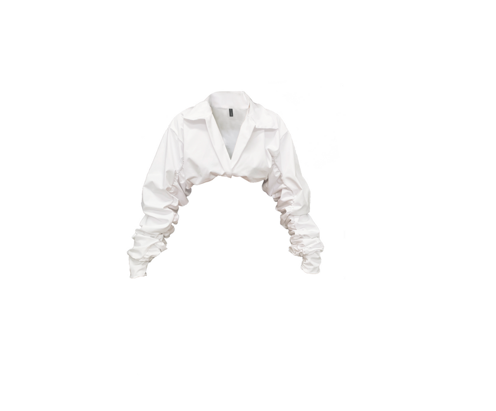 WHITE CROPPED COLLARED BLOUSE (MADE TO ORDER)