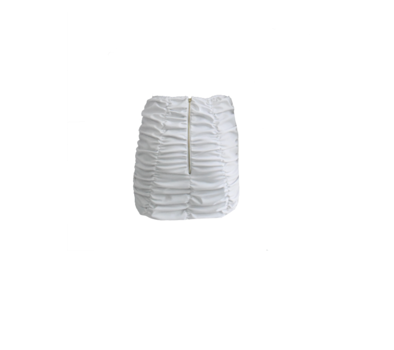 WHITE RUCHED MINI SKIRT (PRE- ORDER DATE 2ND WEEK OF JULY)