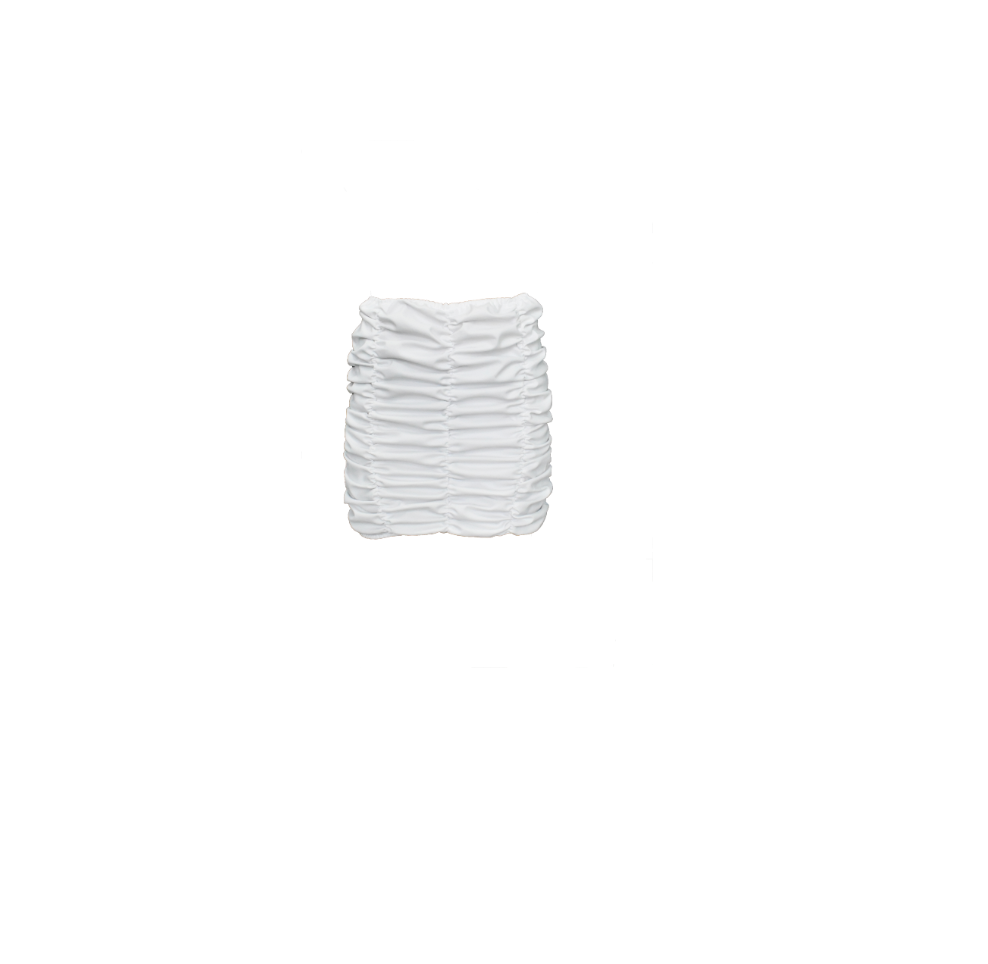 WHITE RUCHED MINI SKIRT (MADE TO ORDER)