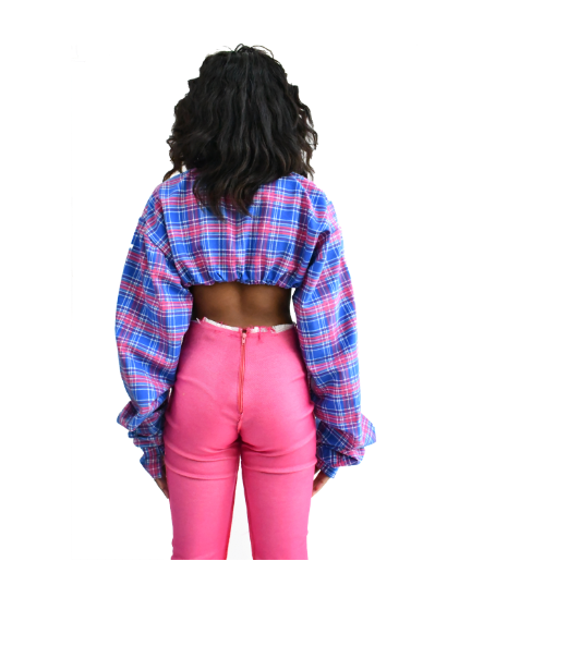 PLAID CROPPED COLLARED BLOUSE (MADE TO ORDER)