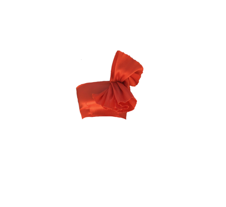 BURNT ORANGE RUFFLE BANDEAU