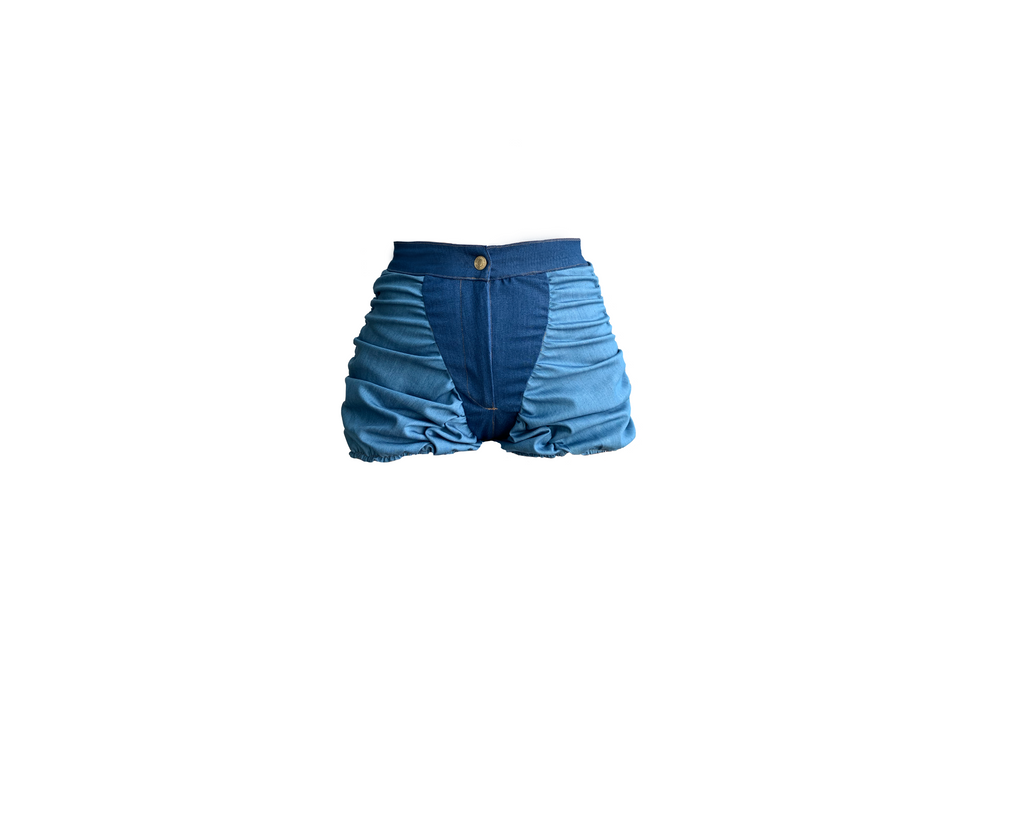 DENIM 2 TONE RUCHED SHORT (MADE TO ORDER)