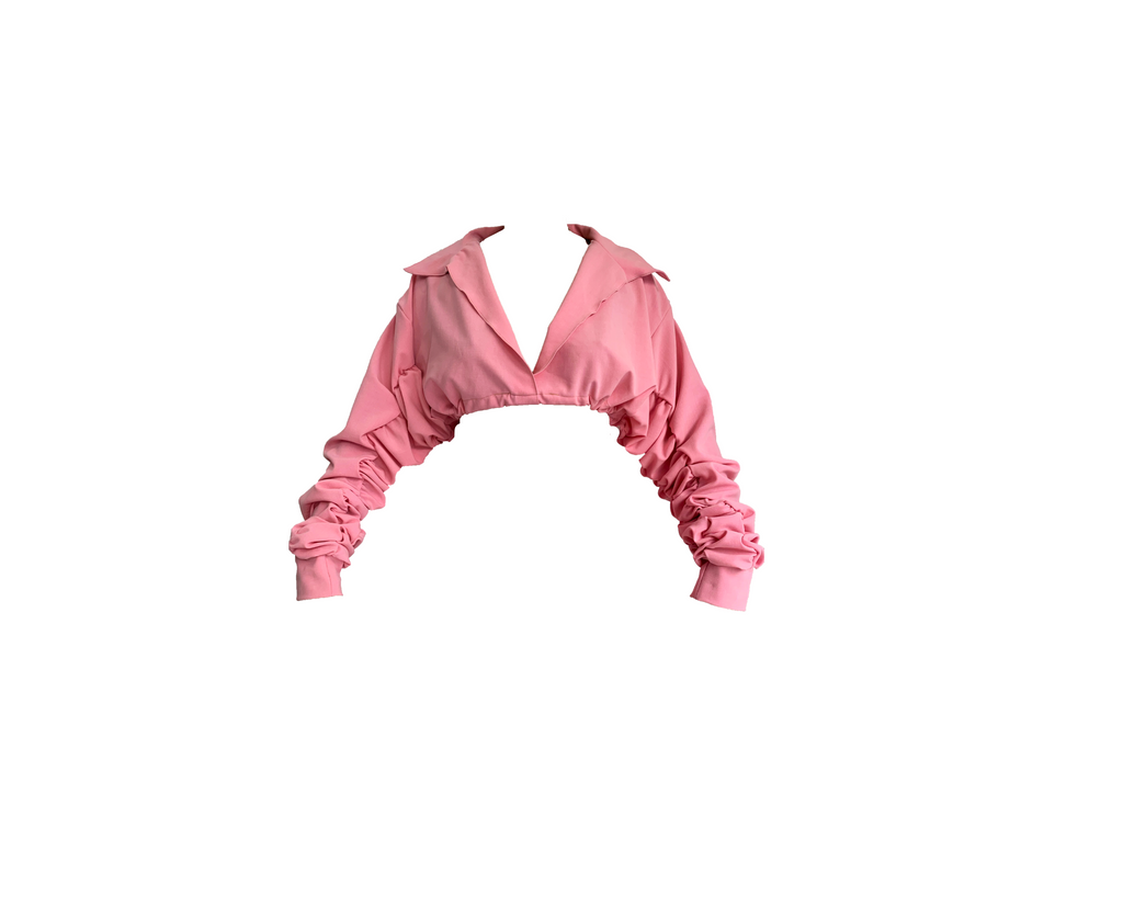 PINK CROPPED COLLARED BLOUSE (MADE TO ORDER)