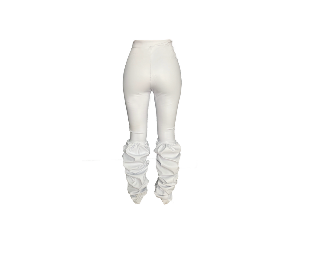 WHITE VINYL RUCHED LEGGING (MADE TO ORDER)