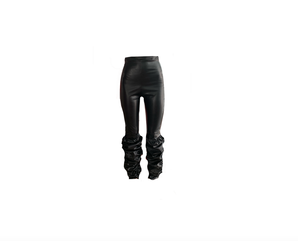 VINYL BLACK RUCHED LEGGINGS