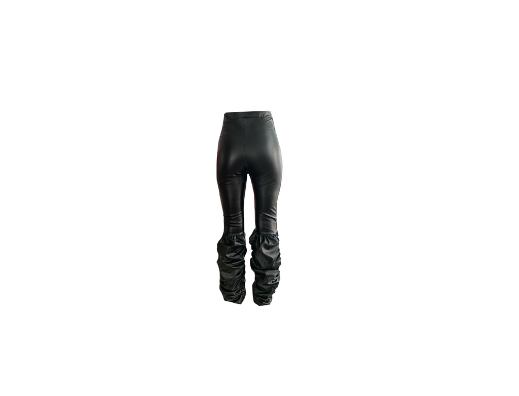 BLACK RUCHED LEGGINGS