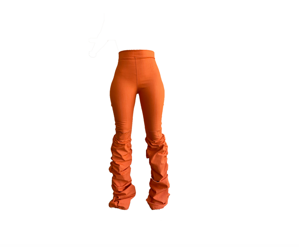 ORANGE DENIM RUCHED SLIM FIT TROUSER