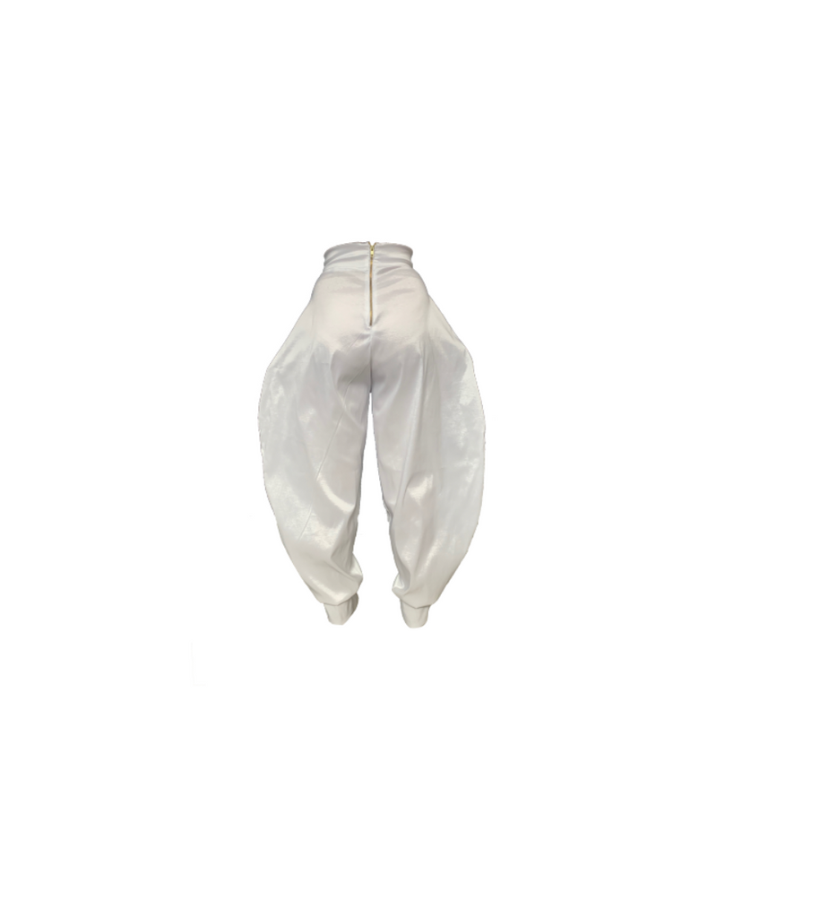 WHITE HOUR GLASS TROUSER