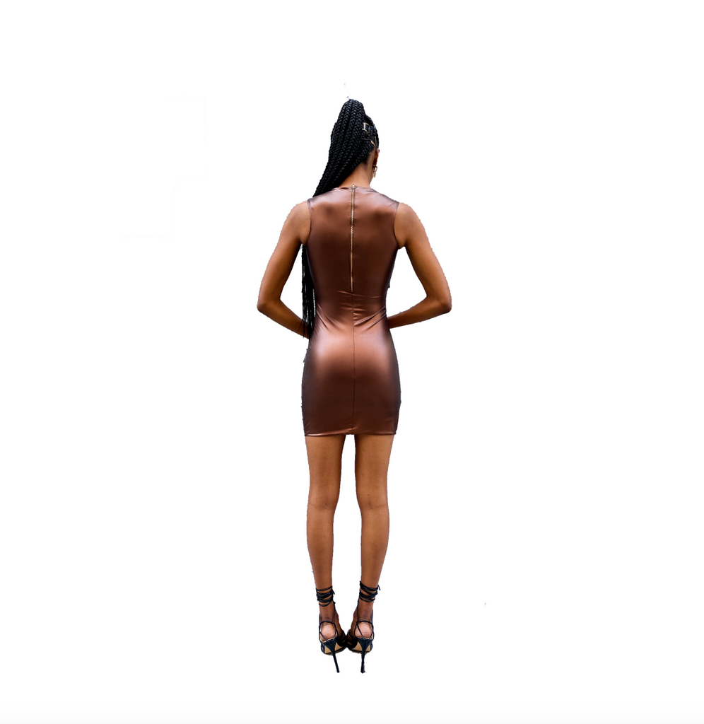BRONZED TRES CUT-OUT MINI DRESS