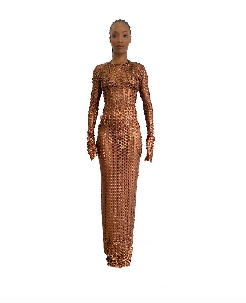 BRONZED FISHNET FLOOR LENGTH DRESS