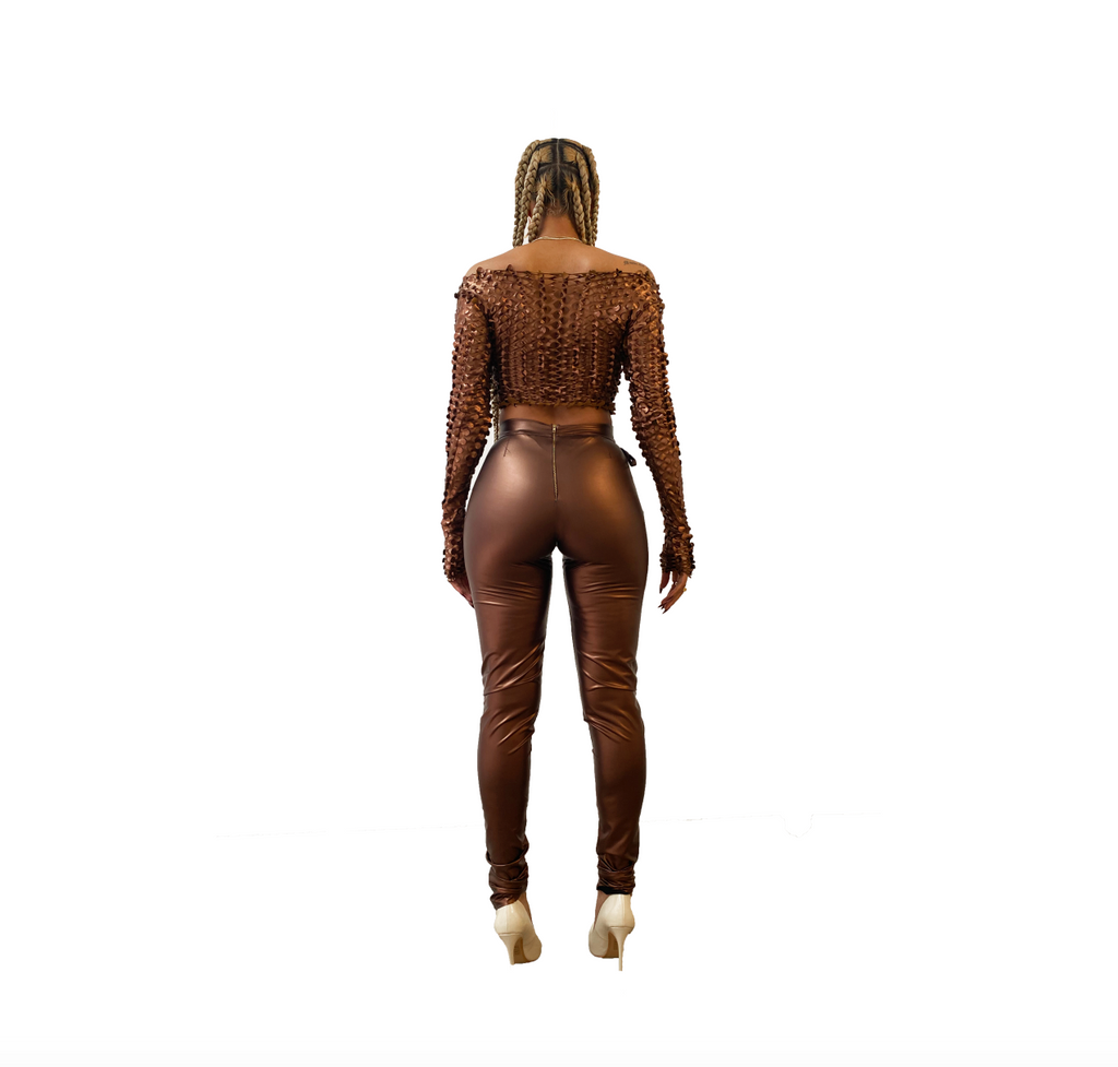 BRONZED CUT-OUT TROUSER