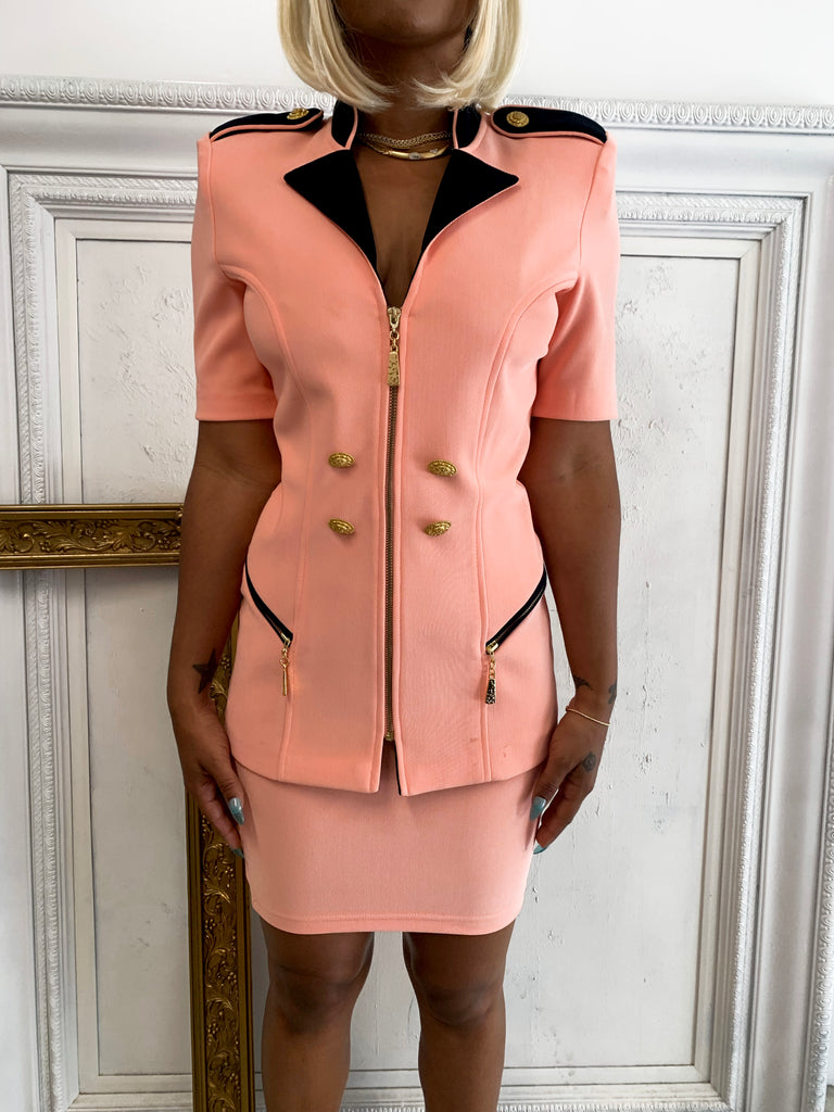 SALMON PINK ZIPPER BLAZER