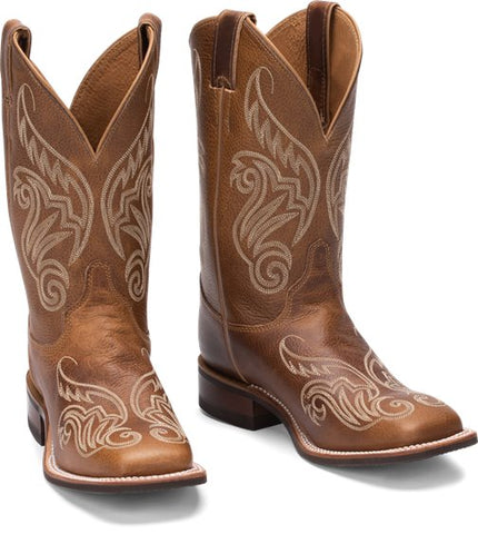 Justin - Women's Tan LLano Fancy Stitch Square Toe Double Welt Western Boots