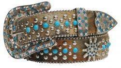 Showman Couture ™  Western style bling belt with cowhide print and turquoise stones.
