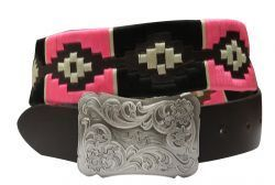 176399	 Manufacturer: Showman Couture 176399 	  Details   Showman Couture ™  pink and cream wrap embroidered belt.