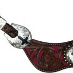 Showman™ ladies size floral filigree spur straps with colored background.