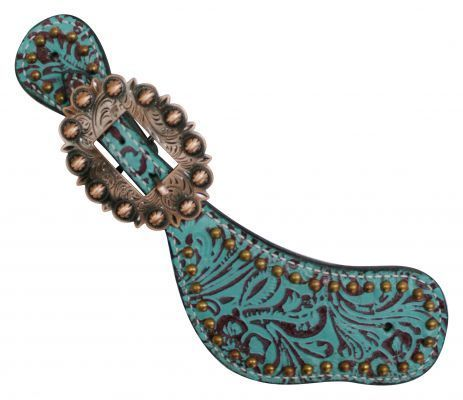 Showman™ Ladies Size Leather Spur Straps with Filigree Print
