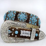 Western Cowhide Rhinestone Bling Bling Glass Crystal Belts