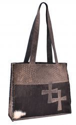 Genuine Leather Handbag with cowhide overlay.