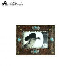 Montana West Brown Faux Leather Photo Frame with turquoise star buckles and conchos.