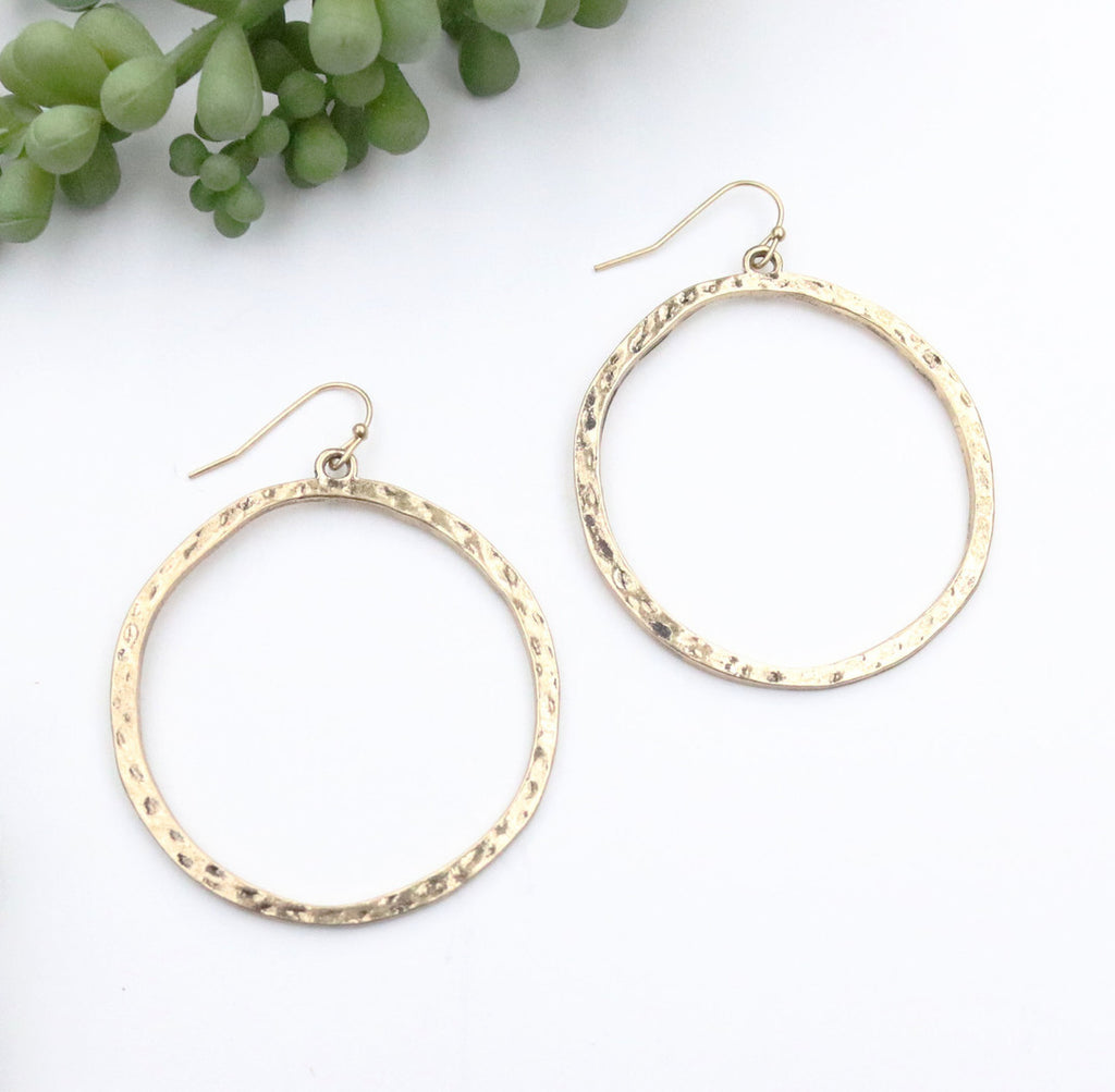 Burnished Gold Circle Outline Earrings