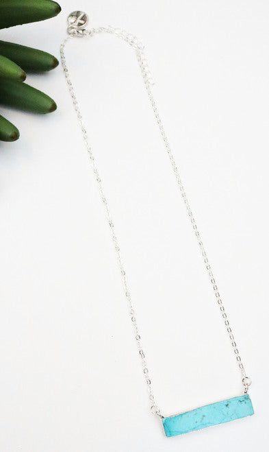 Dainty Silver Necklace with natural turquoise stone