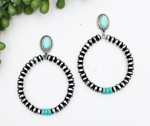 Turquoise and Burnished Silver and Black Rondell Bead Teardrop Post Style Earrings