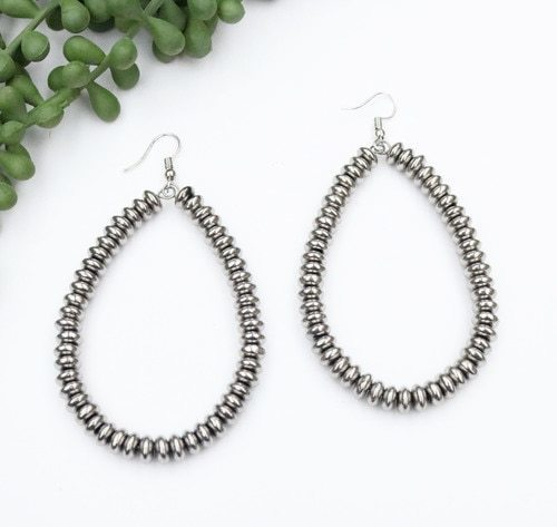 Metallic Silver Disk Teardrop Earring
