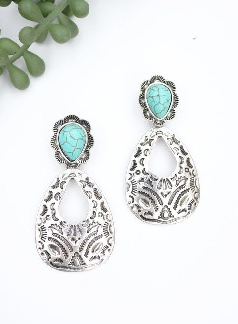 Burnished Silver Aztec Hammered Earrings with Turq Accent