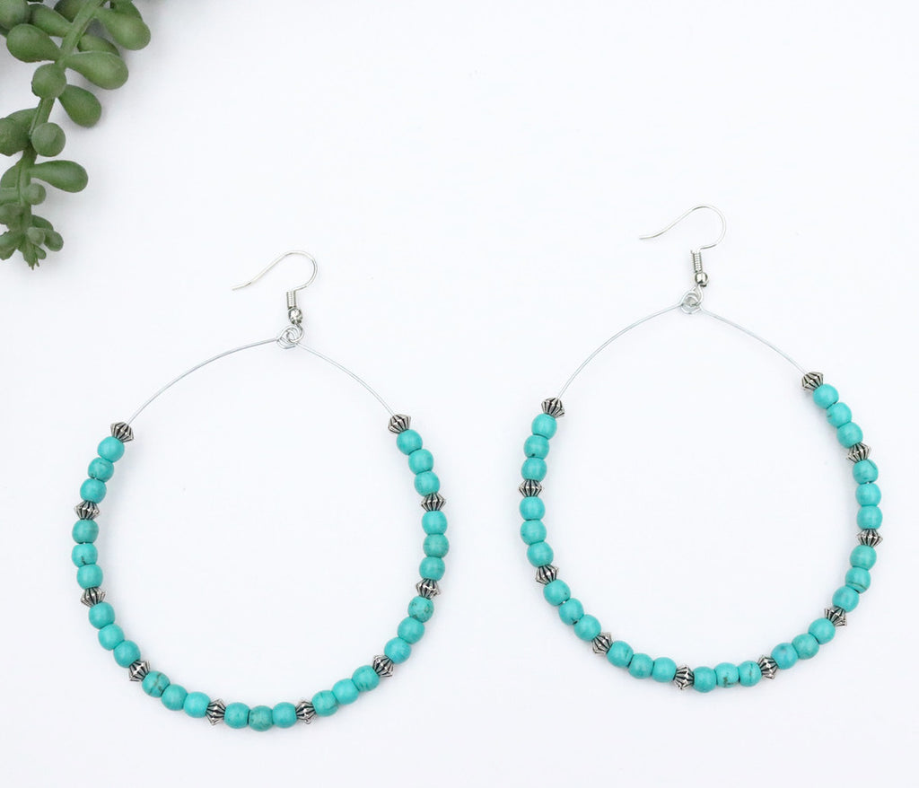 Large Hoop with Turquoise & Silver Mini Melon Bead Earring