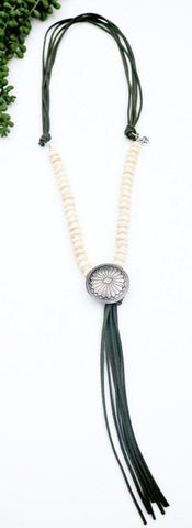 "5 Strand Olive Leather and Ivory Beaded Necklace with Burnished Silver Concho (30"" 8""Tassel)"