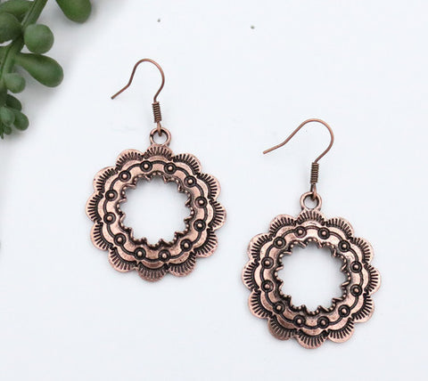 Burnished Copper Round Stamped Earring