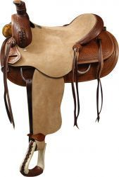 "16""Double T Roper Style saddle with rought out leather hard seat and basket weave tooling."