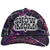 MGIRL-SHOWMOM-BK-WT Licensed MOONSHINE CAMO CAMOUFLAGE MUDDYGIRL® brand caps with bling. BARRAL RACER MOM