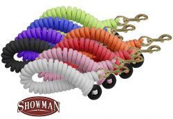 Showman ® 25' soft pro braided cotton lunge line with brass snap and rubber hand stopper on end.