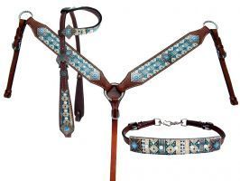 Showman ® Multi Color Navajo print headstall and breast collar set.