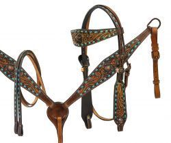 Showman ® Teal buck stitched headstall and breast collar set with engraved bronze conchos.